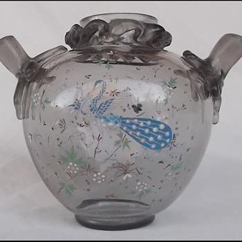 HARRACH SMOKEY GREY GLASS ENEMALED  VASE 1880'S ? - Art Glass