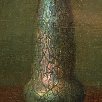 Rindskopf Vase Featured in an Antique Oil Painting - Art Glass