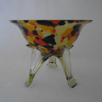 Art Deco Bowl on Tripod Legs - Art Glass