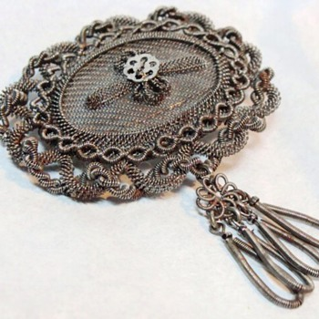 Antique Silesian Wirework Brooch - Fine Jewelry