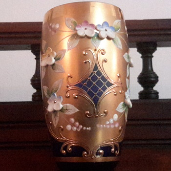 Cobalt blue crystal vase &plate with 24 ct  hand painted Gold & floral motifs
