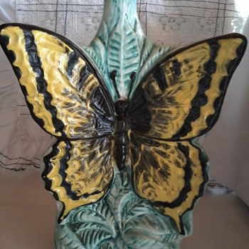 antique-decanter butterfly shaped-Flambe-ceramic