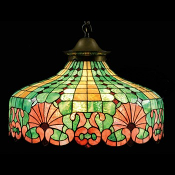 Antique leaded glass hanging lamp - Lamps