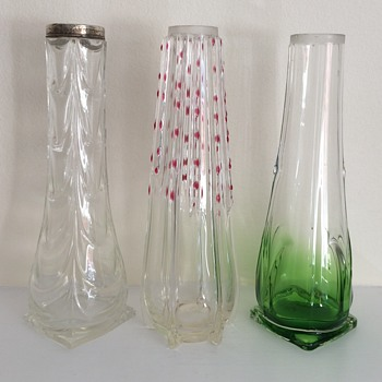 3 Edwardian bud vases of a type