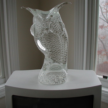 Solid Crystal Bubble Glass Murano Owl - Art Glass