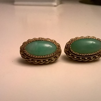 .835 Silver Gilt/Green Stone Vintage Clip Earrings - Flea Market Find $1.00 - Fine Jewelry
