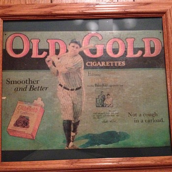Babe Ruth Old Gold Cigarette Cardboard Sign - Signs