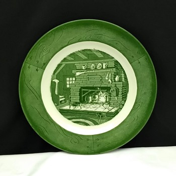 """Vintage Colonial Homestead By Royal Green 10"""" China Dinner Plate Fireplace Scene - China and Dinnerware"""