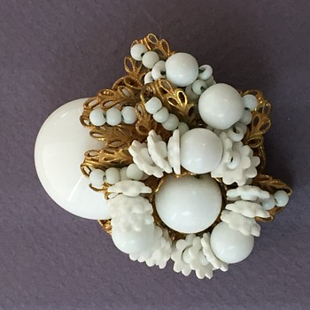 Miriam Haskell White Glass Brooch - Costume Jewelry