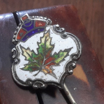 1930s Canadian sterling silver & enamal stick pin - Costume Jewelry
