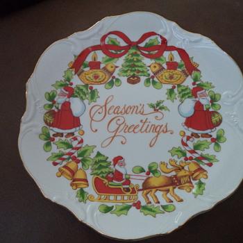 Vintage Decor Plate, Season's Greetings - China and Dinnerware