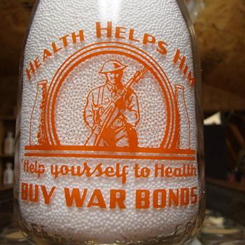 LENICK'S DAIRY...LAPORTE INDIANA...WAR SLOGAN ORANGE PYRO QUART MILK BOTTLE - Bottles