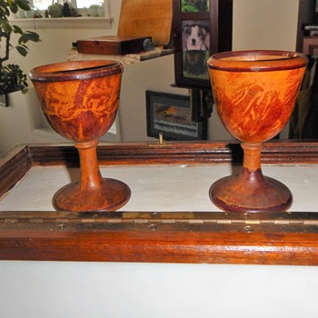Wood turned old egg cups   - stashed away for years