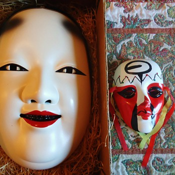 Noh Mask  KO Omote  Wood  with ceramic one from earlier post and China Opera ceramic mask little - Asian