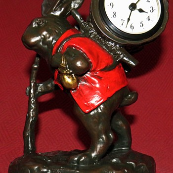 Traveling Rabbit Mantel Clock By Oklahoma Casting Co., USA - Animals