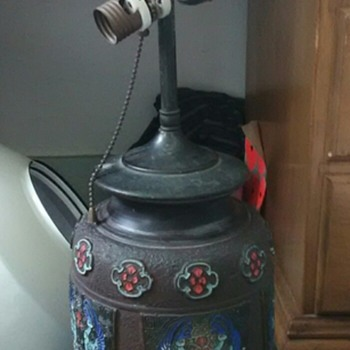 I've got another Mystery. Huge Lamp signed Made in Japan painted old cluster light sockets Leviton Pull Chain - Asian