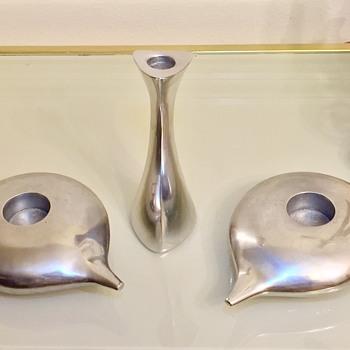 1980's Calvin Klein Modernist Aluminum Reversible Candleholder Votive  - Lamps
