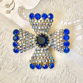 Vintage Schiaparelli Blue and Aurora Borealis Rhinestone Maltese Cross Brooch - Costume Jewelry