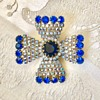 Vintage Schiaparelli Blue and Aurora Borealis Rhinestone Maltese Cross Brooch