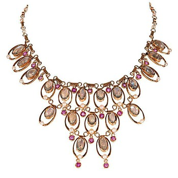 Art Deco yellow 18K gold Moonstone Ruby necklace - Fine Jewelry