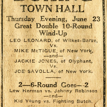 1921 Newspaper Ad for a Scranton, PA Boxing match - Advertising