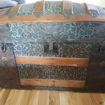 Victorian Era Dometop Steamer Trunk - Embossed Wild Rose Design - Victorian Era