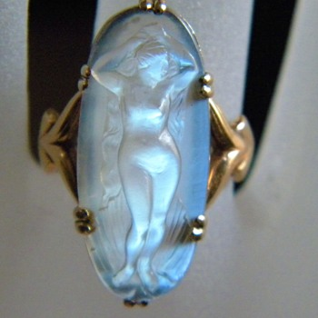 Antique Nouveau Carved Moonstone Full Nude Cameo 18k 750 French Full Figure - Fine Jewelry