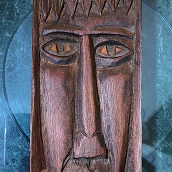 Carved Wooden Head - Long and Narrow - Folk Art