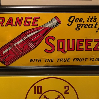 1930s unused Orange Squeeze tin sign - Signs