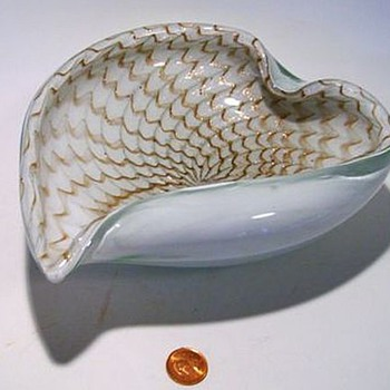 MURANO Art Glass Bowl -- Spider Web design sort of ??