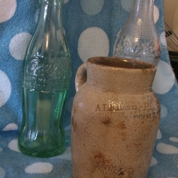 ALFRED JONES & CO. OYSTER JAR Stamped Bangor Maine...COKE BOTTLE>>>SMILE BOTTLE