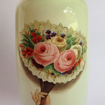 Victorian custard glass vase with painted decoration - Art Glass