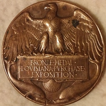 2 sided Bronze Medal Louisiana Purchase Exposition