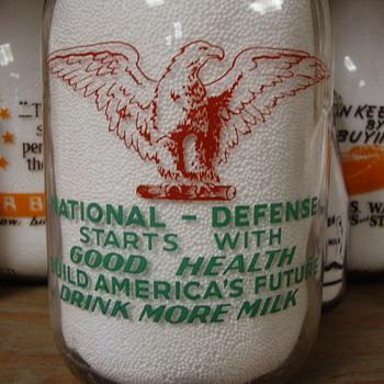 HORACK DAIRY...ST. LOUIS MISSOURI...1/2 GALLON WAR SLOGAN MILK BOTTLE - Bottles