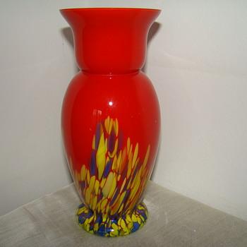 Bohemian spatter glass vase - Art Glass