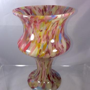 Czech Deco Pink Blue Red Spatter Vase.  - Art Glass