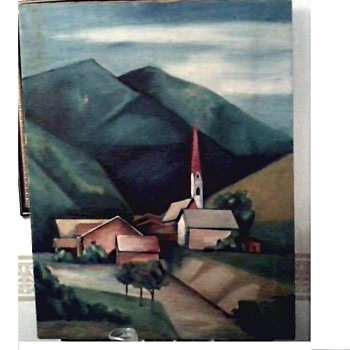 "Interesting Old Landscape Painting ""Austrian Alps"" ? / 22"" x 27 1/2"" / Unsigned Unknown Circa 1950-60's ? - Fine Art"