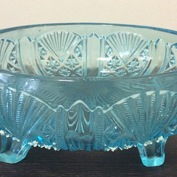 Davidson Turquoise Aqua pressed glass bowl - 718 - Glassware