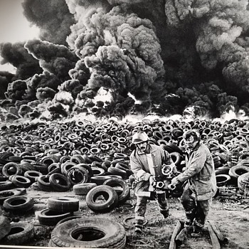 B & W Photo Of Tire Fire - Firefighting