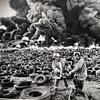B & W Photo Of Tire Fire