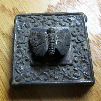 Small Antique Butterfly Cast Iron Footed Square Paperweight Marked On Bottom