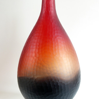 murano bicolore incalmo battuto vase - Art Glass