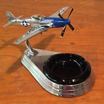 Overhauled Allyn P-51 Mustang Chrome Ashtray Airplane for 352nd FG  - Advertising