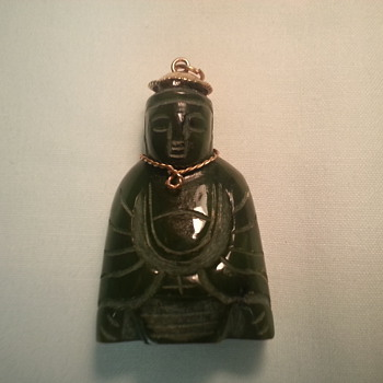 Jade Buddha With 14 K gold hat Pendant