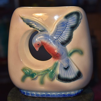 Large Cut-out Vase/Planter with Blue Bird - unsigned - Pottery