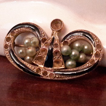 1920s Pearl and black enamel mourning brooch - Fine Jewelry