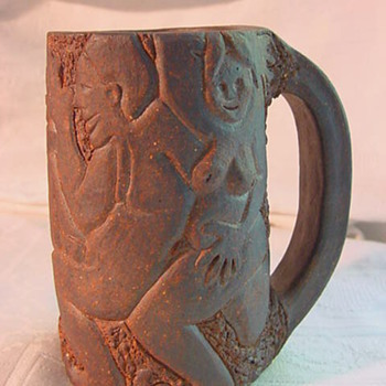 Mystery hand build heavy African Nudes theme Mug - Pottery