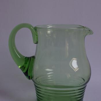 Stuart Stratford Pattern Green Jug - Art Glass
