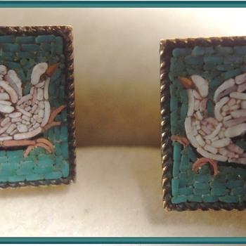 Micro Mosaic Doves Pair of Ladies Cufflinks