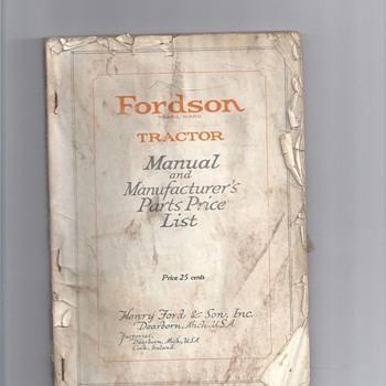 1900's OR1930's TRACTORS MANUALS - Tractors